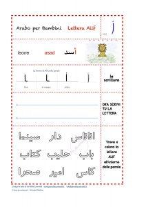Esercizi lettera Alif – Arabo per bambini
